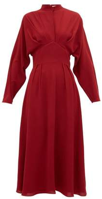 Emilia Wickstead Autumn Pleated High-neck Crepe Midi Dress - Womens - Burgundy