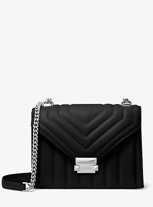 MICHAEL Michael Kors MK Whitney Large Quilted Leather Convertible Shoulder Bag - Black - Michael Kors