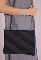 Missguided Colour Block Woven Clutch Navy