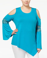 NY Collection Plus Size Asymmetrical Cold-Shoulder Top