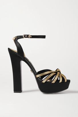Dolce & Gabbana Knotted Metallic Leather And Satin Platform Sandals - Black