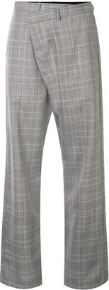R 13 Asymmetric-Front Check Trousers