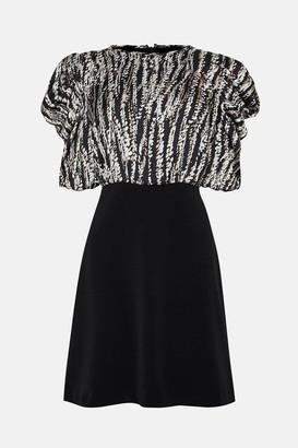 Coast Satin Tuck Sleeve Crepe Skirted Dress