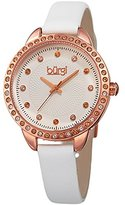Burgi Women's Genuine Swarovski Crystal Accented White Dial and Rose-Tone Bezel with White Genuine Leather Strap Watch BUR161WT