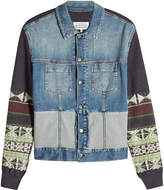 Maison Margiela Denim Jacket with Wool and Cotton Knit Detail