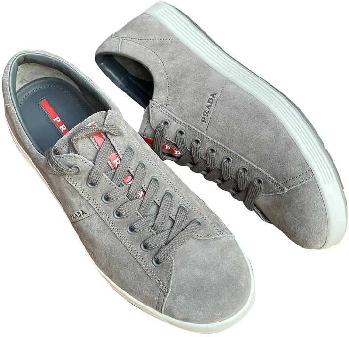 Prada Grey Suede Trainers - ShopStyle