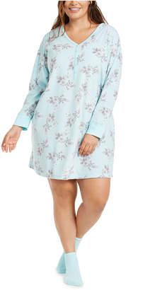 Charter Club Plus Size Sleepshirt Nightgown & Socks Set