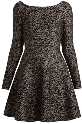 Alaia Cracked Metallic Fit-&-Flare Dress