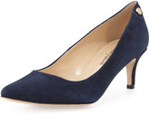 Neiman Marcus Stroll Low-Heel Point-Toe Pump, Navy