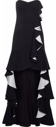 Badgley Mischka Strapless Satin-trimmed Ruffled Cady Gown
