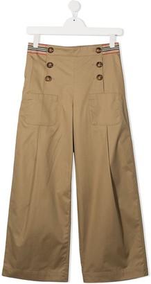 BURBERRY KIDS TEEN Icon Stripe wide-leg trousers