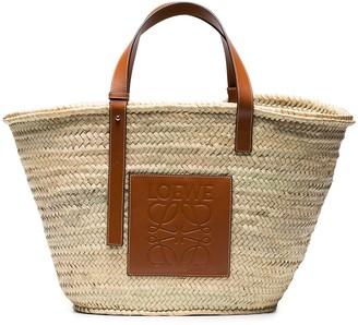 Loewe Large Logo Raffia Basket Bag