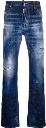 DSQUARED2 Distressed Straight-Leg Jeans