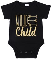 Ma&Baby Boys Girls Pajamas Wild Child Golden Arrows Romper Bodysuit Outfit (0-3 Months)