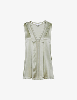 Reiss Chelsea sleeveless satin-silk knitted blouse