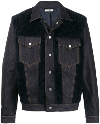 Zilver Shearling Panel Denim Jacket