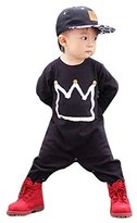 Gift!! Season changing Newborn Infant Baby Boys Girls Print Romper Jumpsuit Bodysuit Clothes Outfits (6M, Black)