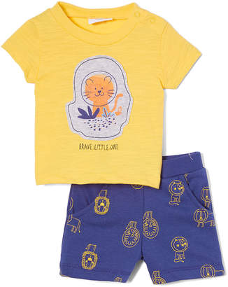 Sterling Baby Boys' Casual Shorts Yellow - Yellow Lion 'Brave Little One' Tee & Dark Blue Lion Shorts - Newborn & Infant