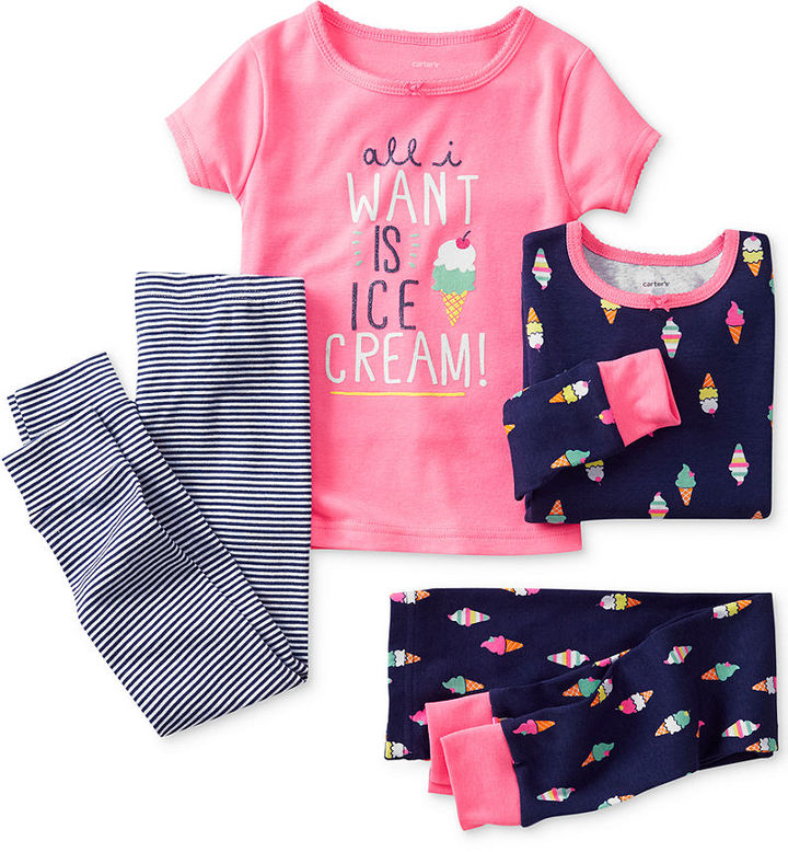 Carter's Little Girls' 4-Piece Fitted Pajamas