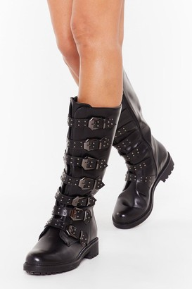 Nasty Gal Womens Buck It Faux Leather Calf-High Boots - black - 3