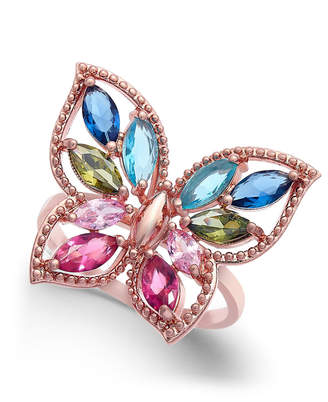Charter Club Rose Gold-Tone Multicolor Crystal Butterfly Ring