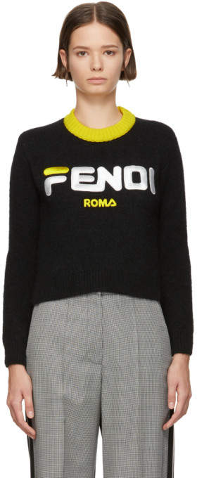 Fendi Black Mania Cropped Sweater