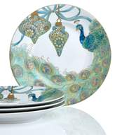 222 Fifth Holiday Set of 4 Lakshmi Peacock Dessert Plates
