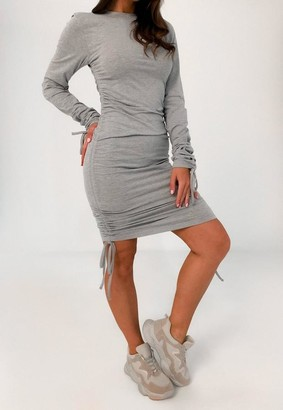 Missguided Long Sleeve Ruched Jersey Mini Dress