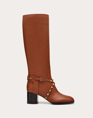 Valentino Rockstud Grainy Calfskin Leather Boot 60 Mm Women Brown 100% Pelle Di Vitello - Bos Taurus 36.5