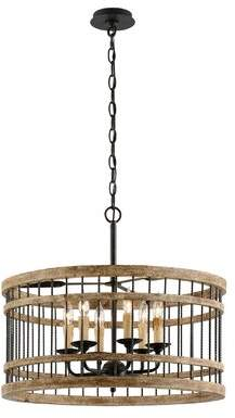 Gracie Oaks Polak 6 - Light Lantern Drum Chandelier with Wood Accents Gracie Oaks