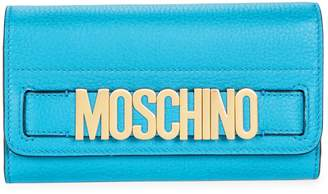 Moschino Logo Pebbled Leather Long Wallet