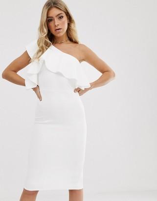 Asos Design DESIGN one shoulder ruffle detail midi dress-White