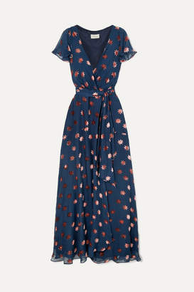 Temperley London Devoré-chiffon Wrap Dress - Navy