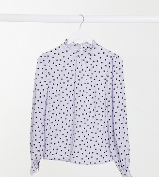 New Look Tall high neck blouse in polka dot print
