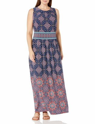 London Times Women's Plus Nile Tile Large Size Printed Jersey Maxi with Pleat Neck Detail