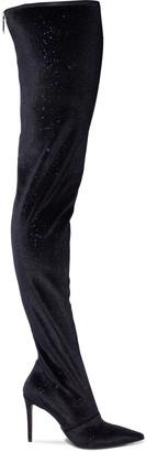Balmain Amazone Glittered Stretch-velvet Thigh Boots