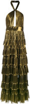 Elie Saab metallic tiered skirt gown - women - Silk/Polyethylene - 38