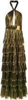 Elie Saab metallic tiered skirt gown