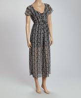 Black Geometric Tie-Waist Dress