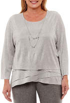 Alfred Dunner Silver Bells Tiered Shimmer T-Shirt with Necklace-Plus