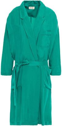 American Vintage Belted Washed-cupro Jacket