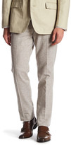 Bonobos Foundation White & Blue Striped Trim Fit Double-Pleated Trouser
