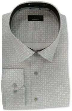 Alfani Men's Big & Tall Classic/Regular-Fit Performance Stretch Geo-Print Dress Shirt, Created for Macy's