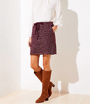 LOFT Petite Flecked Knit Jogger Skirt
