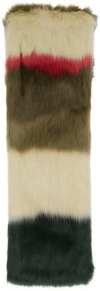 Gucci Green and Multicolor Faux-Fur Scarf
