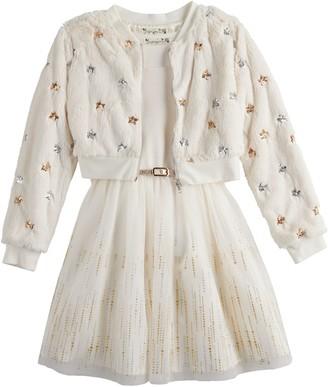 Knitworks Girls 7-16 & Plus Knit Works 2-Piece Belted Skater Dress Set with Faux-Fur Jacket