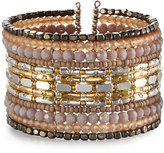 Nakamol Mixed Crystal-Beaded Wide Wire Cuff Bracelet