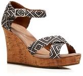 Toms Open Toe Platform Wedge Sandals - Woven Diamond Pattern