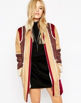 Asos Coat in Patchwork Faux Shearling