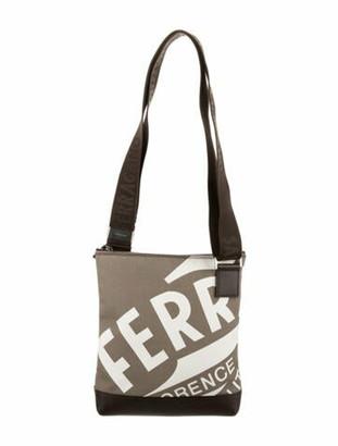 Salvatore Ferragamo Leather-Trimmed Printed Crossbody Bag Brown